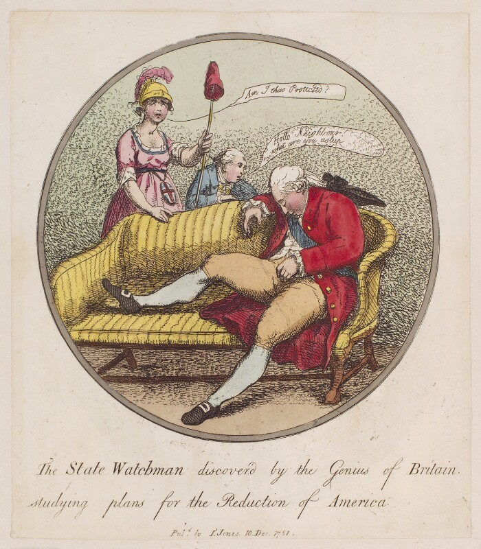 King George III, by Thomas Rowlandson, published by  I. Jones, published 10 December 1781 - NPG D12289 - © National Portrait Gallery, London