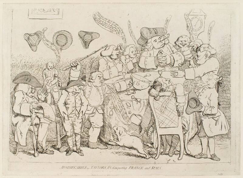 'Apothecaries - taylors, &c. conquering France and Spain', probably by James Gillray, published by  William Humphrey, published 29 September 1779 - NPG D12292 - © National Portrait Gallery, London