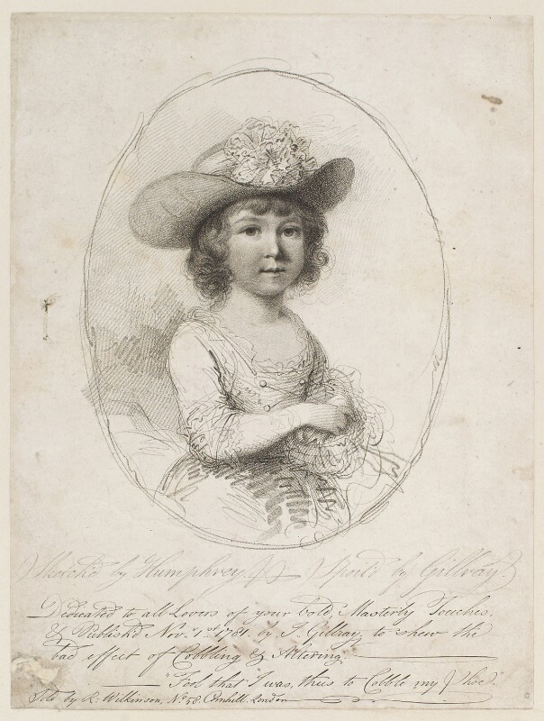 William Lamb, 2nd Viscount Melbourne ('Sketched by Humphrey - spoil'd by Gillray'), by James Gillray, published by  Robert Wilkinson, after  William Humphrey, published 1 November 1781 - NPG D12295 - © National Portrait Gallery, London