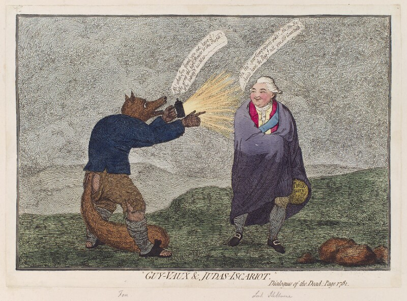 'Guy-Vaux & Judas-Iscariot' (Charles James Fox; William Petty, 1st Marquess of Lansdowne (Lord Shelburne)), by James Gillray, published 14 August 1782 - NPG D12296 - © National Portrait Gallery, London