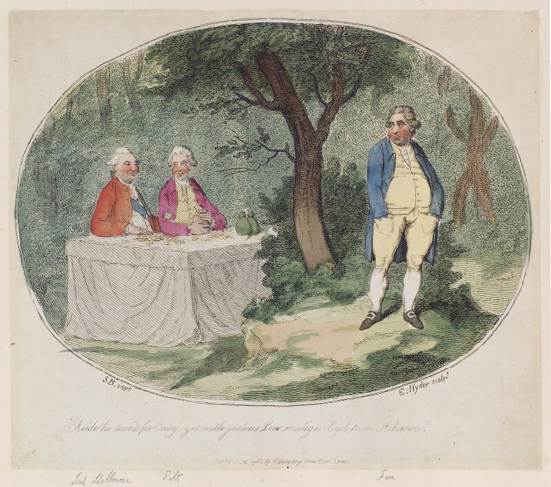 'Aside he turn'd for envy, yet with jealous leer malign, eyd them askance', by James Gillray, published by  Hannah Humphrey, published 12 December 1782 - NPG D12302 - © National Portrait Gallery, London