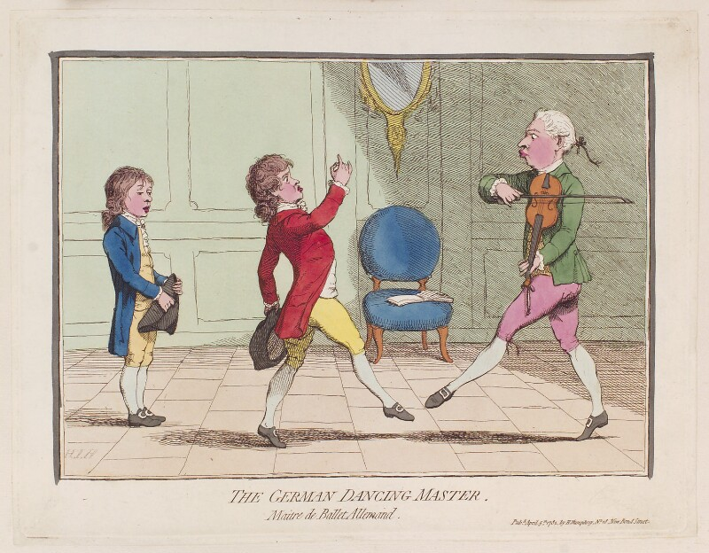 'The German dancing master', by James Gillray, published by  Hannah Humphrey, published 5 April 1782 - NPG D12303 - © National Portrait Gallery, London