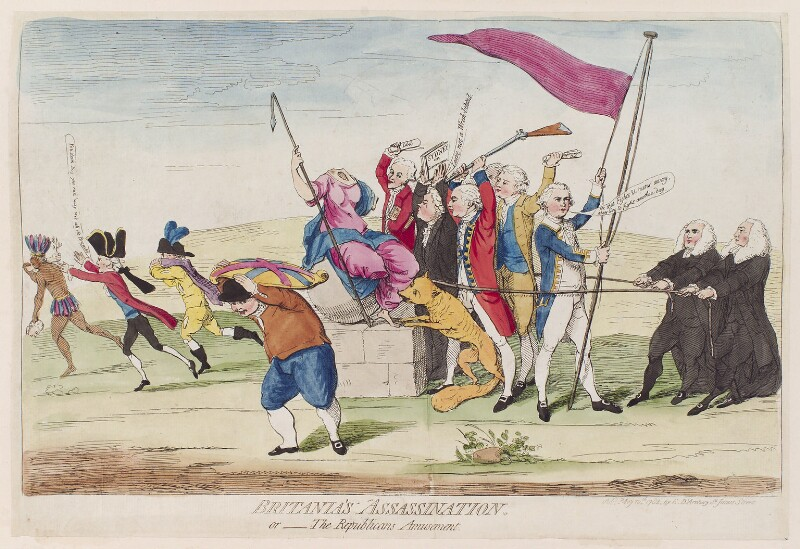 'Britania's assassination. Or the Repulicans amusement', by James Gillray, published by  Elizabeth d'Achery, published 10 May 1782 - NPG D12305 - © National Portrait Gallery, London