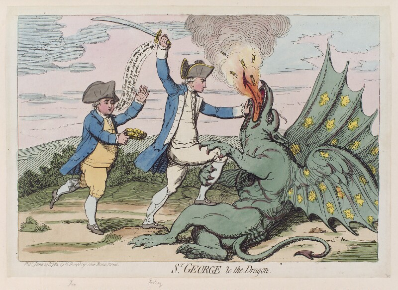 'St George and the dragon' (Charles James Fox; George Bridges Rodney, 1st Baron Rodney), by James Gillray, published by  Hannah Humphrey, published 13 June 1782 - NPG D12308 - © National Portrait Gallery, London