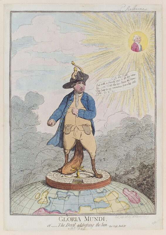 'Gloria Mundi, or - the Devil addressing the sun', by James Gillray, published by  William Humphrey, published 22 July 1782 - NPG D12310 - © National Portrait Gallery, London