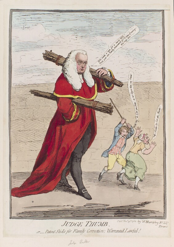 Sir Francis Buller, 1st Bt ('Judge Thumb'), by James Gillray, published by  William Humphrey, published 27 November 1782 - NPG D12316 - © National Portrait Gallery, London