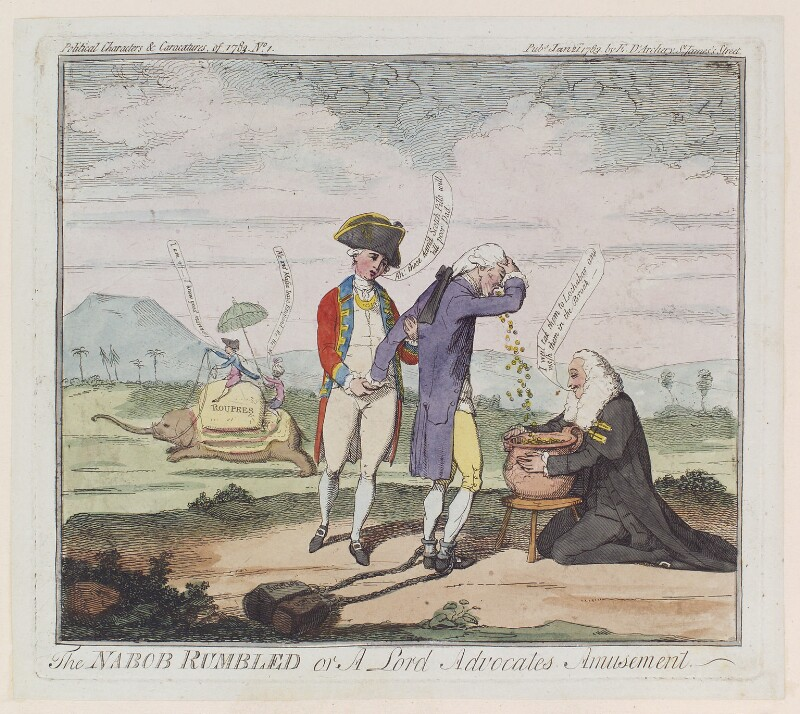 'The nabob rumbled or a Lord Advocates amusement' (Captain Rumbold; Sir Thomas Rumbold; Henry Dundas, 1st Viscount Melville), by James Gillray, published by  Elizabeth d'Achery, published 21 January 1783 - NPG D12317 - © National Portrait Gallery, London