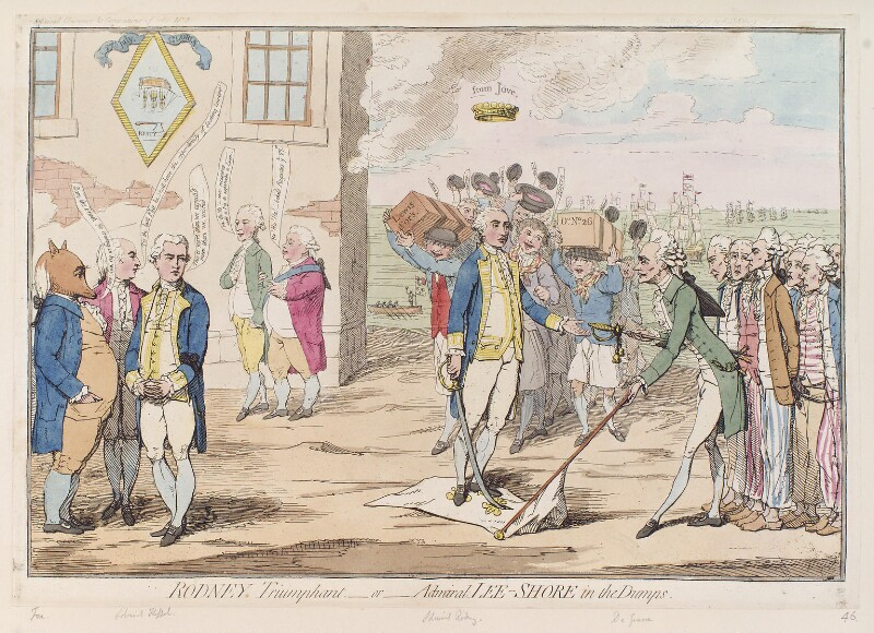 'Rodney triumphant - or - Admiral Lee Shore in the dumps', by James Gillray, published by  Elizabeth d'Achery, published 31 May 1782 - NPG D12321 - © National Portrait Gallery, London