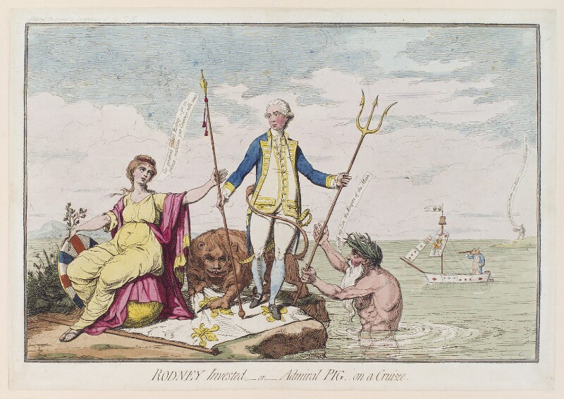 'Rodney invested - or - Admiral Pig on a cruize' (George Bridges Rodney, 1st Baron Rodney; Hugh Pigot; Charles James Fox), by James Gillray, published by  Elizabeth d'Achery, published 4 June 1782 - NPG D12322 - © National Portrait Gallery, London