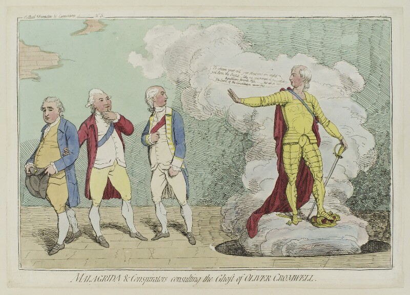 'Malagrida and conspirators, consulting the ghost of Oliver Cromwell', by James Gillray, published by  Elizabeth d'Achery, published June 1782 - NPG D12323 - © National Portrait Gallery, London