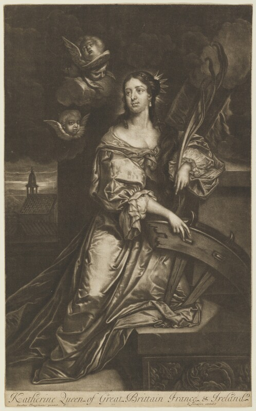 Catherine of Braganza as St Catherine, published by Richard Tompson, after  Jacob Huysmans, 1678-1679 (circa 1664) - NPG D13173 - © National Portrait Gallery, London