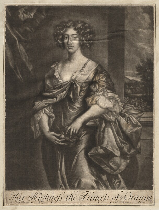 Queen Mary II when Princess of Orange, published by Richard Tompson, after  Sir Peter Lely, 1678-1679 - NPG D13140 - © National Portrait Gallery, London
