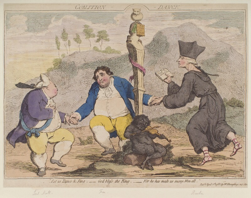 'Coalition dance' (Frederick North, 2nd Earl of Guilford; Charles James Fox; Edmund Burke), by James Gillray, published by  William Humphrey, published 5 April 1783 - NPG D12334 - © National Portrait Gallery, London