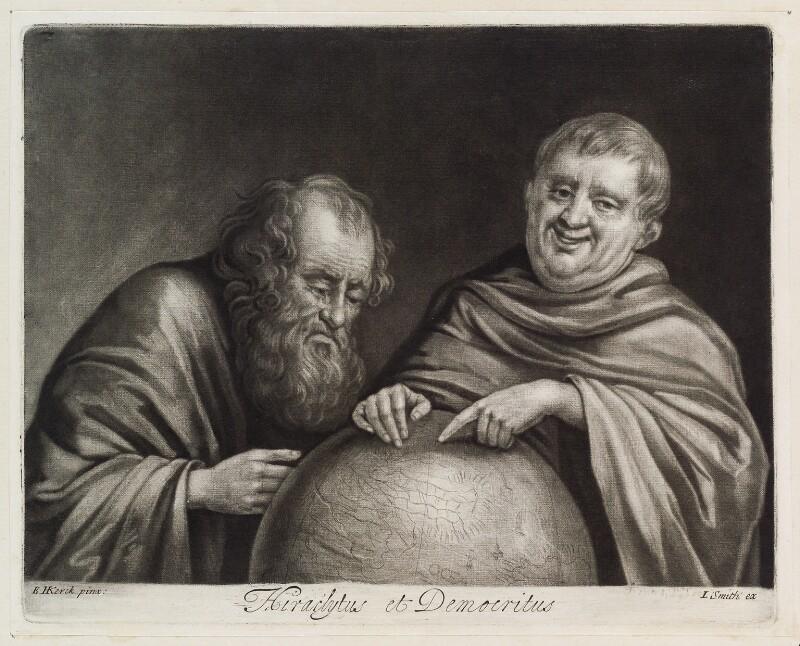 Heraclitus and Democritus, published by John Smith, after  Egbert van Heemskerck the Elder, circa 1683-1729 - NPG D11854 - © National Portrait Gallery, London