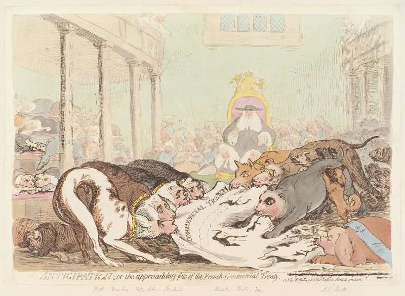 'Anticipation, or the approaching fate of the French Commercial Treaty', by James Gillray, published by  William Holland, published 1787? - NPG D12356 - © National Portrait Gallery, London