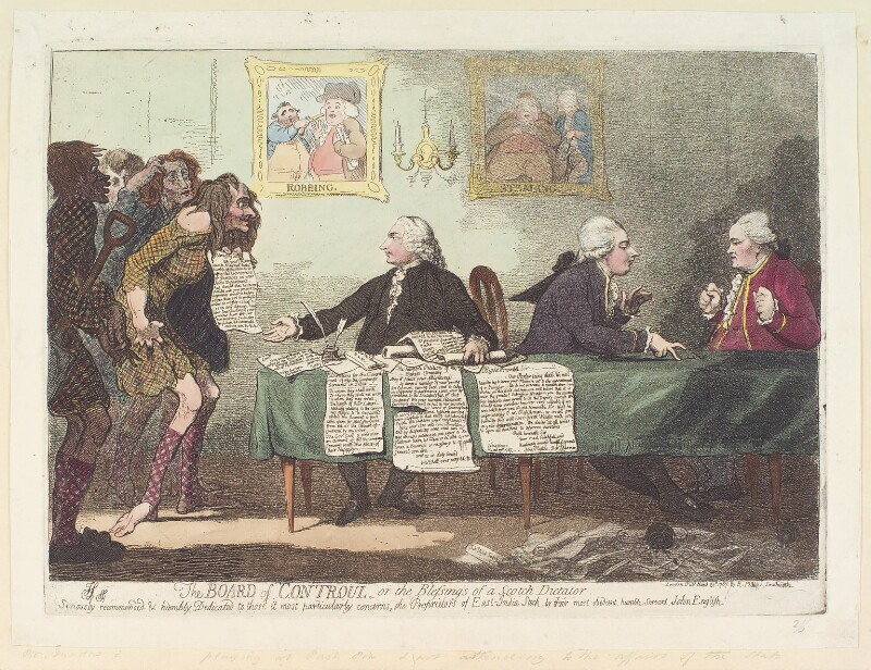 'The board of controul, or the blessings of a Scotch dictator', by James Gillray, published by  R. Phillips, published 20 March 1787 - NPG D12359 - © National Portrait Gallery, London