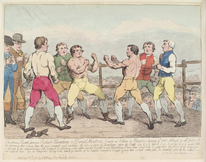 'The famous battle between Richard Humphreys and Daniel Mendoza...' (Richard Humphries; Daniel Mendoza), by Unknown artist, published by  Samuel William Fores, published 11 January 1788 - NPG D12369 - © National Portrait Gallery, London