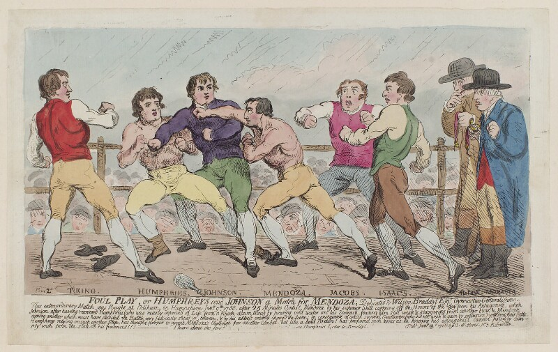 'Foul play, or Humphreys and Johnson a match for Mendoza...' (Richard Humphries; Daniel Mendoza), by Unknown artist, published by  Samuel William Fores, published 18 January 1788 - NPG D12370 - © National Portrait Gallery, London