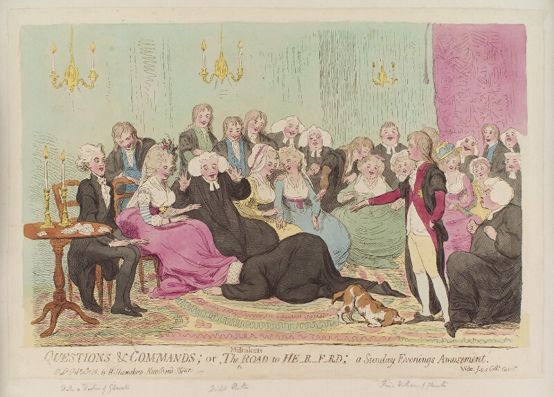 'Questions and commands; or, the mistaken road to He-r-f-rd; a Sunday evenings amusement', by James Gillray, published by  Hannah Humphrey, published 11 February 1788 - NPG D12372 - © National Portrait Gallery, London