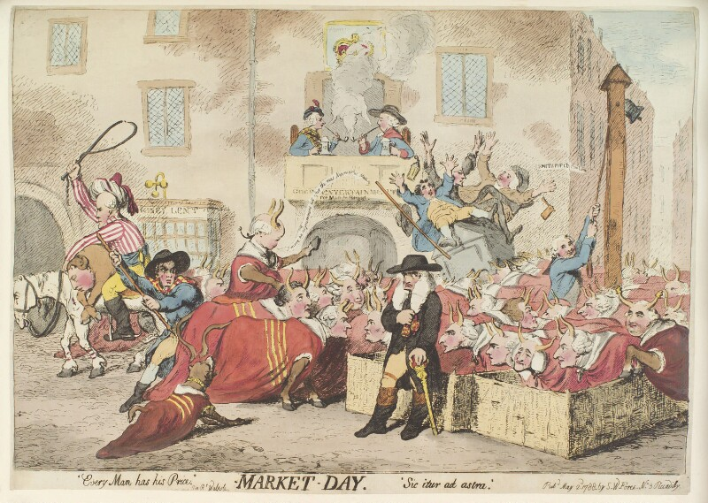 'Market day', by James Gillray, published by  Samuel William Fores, published 2 May 1788 - NPG D12377 - © National Portrait Gallery, London