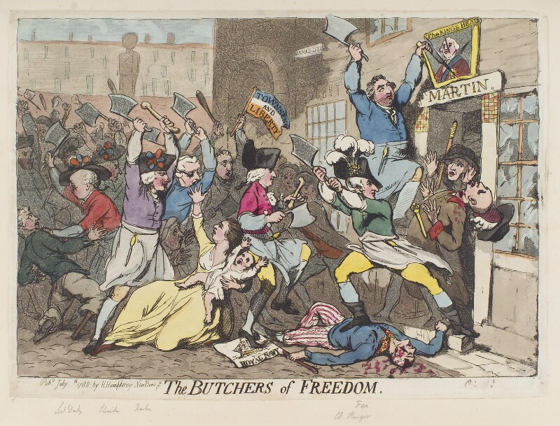'The butchers of freedom', by James Gillray, published by  Hannah Humphrey, published July 1788 - NPG D12384 - © National Portrait Gallery, London