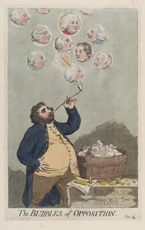 'Bubbles of opposition', by James Gillray, published 19 July 1788 - NPG D12385 - © National Portrait Gallery, London