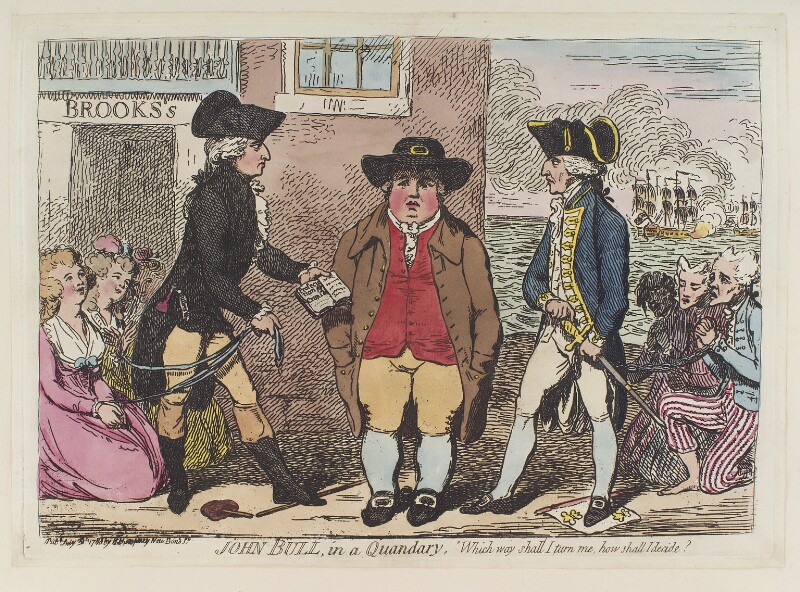 'John Bull, in a quandary' (Lord John Townshend; Samuel Hood, 1st Viscount Hood), by James Gillray, published by  Hannah Humphrey, published 31 July 1788 - NPG D12389 - © National Portrait Gallery, London