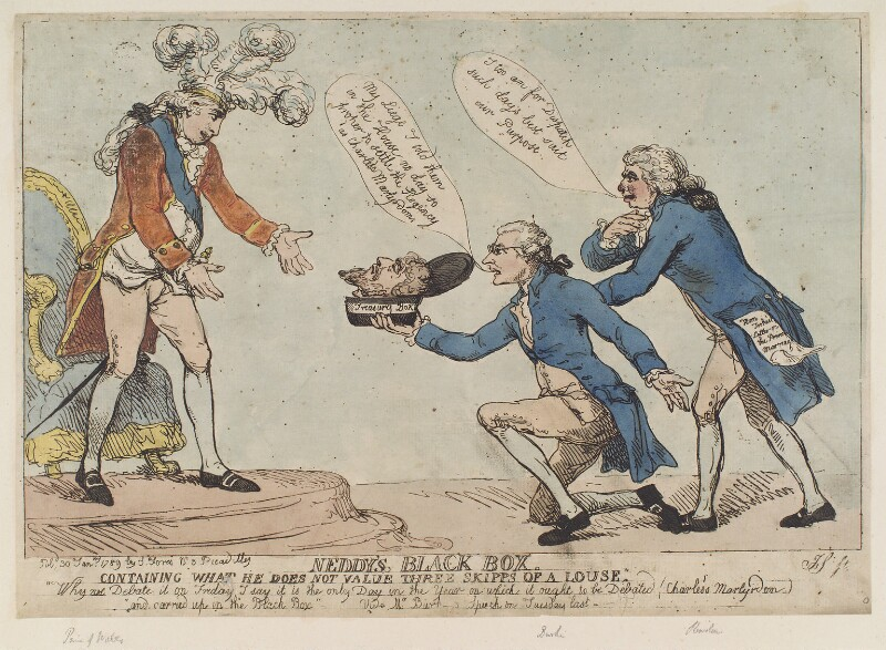 'Neddy's black box' (King George IV; King Charles I (head of); Edmund Burke; Richard Brinsley Sheridan), by Thomas Rowlandson, published by  Samuel William Fores, published 30 January 1789 - NPG D12397 - © National Portrait Gallery, London