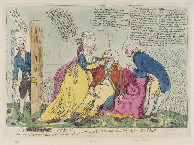 'The coward comforted, - or - a scene immediately after the duel', by James Gillray, published by  James Aitken, published 29 May 1789 - NPG D12404 - © National Portrait Gallery, London