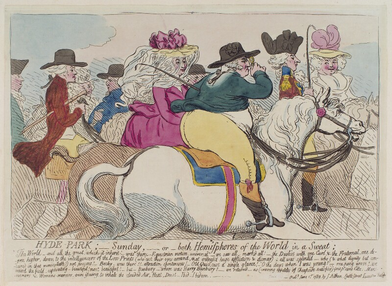 'Hyde-Park; - Sunday, - or - both hemispheres of the world in a sweat', by James Gillray, published by  James Aitken, published 1 June 1789 - NPG D12405 - © National Portrait Gallery, London