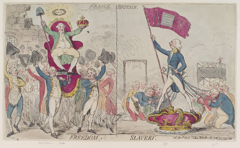 'France freedom Britain slavery', by James Gillray, published by  James Aitken, published 28 July 1789 - NPG D12406 - © National Portrait Gallery, London
