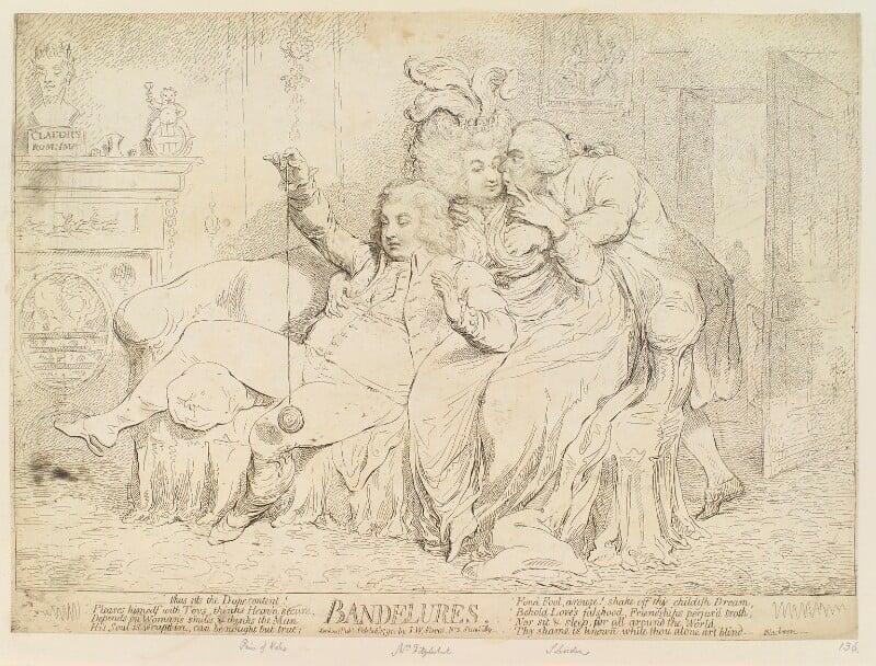 'Bandelures' (King George IV; Maria Anne Fitzherbert (née Smythe); Richard Brinsley Sheridan), by James Gillray, published by  Samuel William Fores, published 28 February 1791 - NPG D12412 - © National Portrait Gallery, London