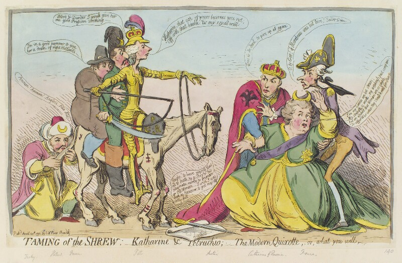 'Taming of the shrew : - Katharine & Petruchio : - the modern Quixotte, or what you will', by James Gillray, published by  Samuel William Fores, published 20 April 1791 - NPG D12416 - © National Portrait Gallery, London