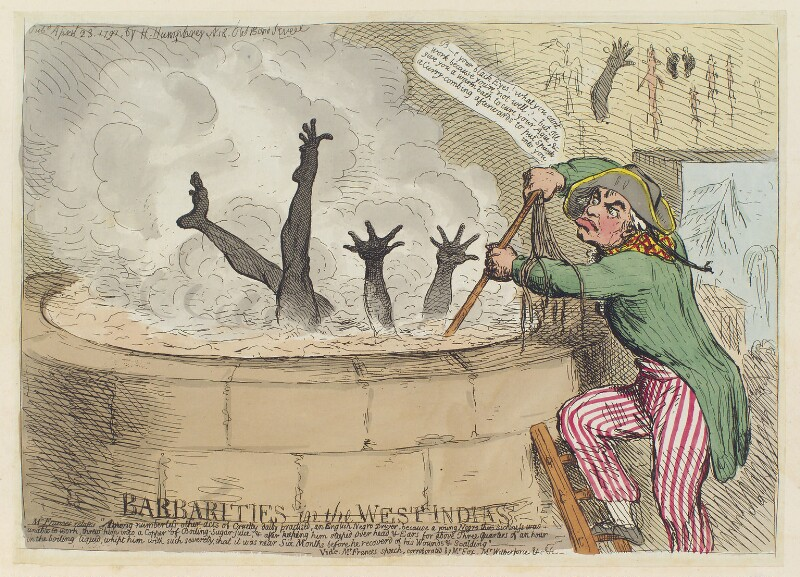 'Barbarities in the West Indias [Indies]', by James Gillray, published by  Hannah Humphrey, published 23 April 1791 - NPG D12417 - © National Portrait Gallery, London