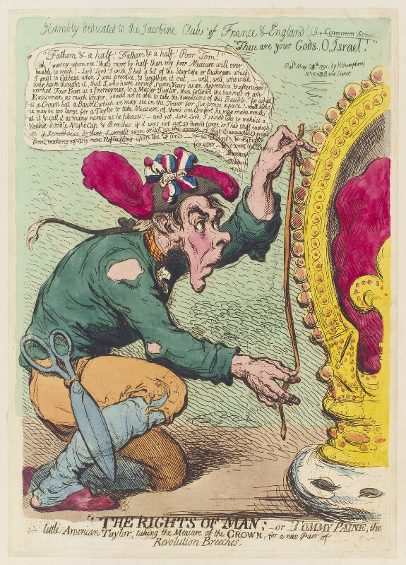 Thomas Paine, by James Gillray, published by  Hannah Humphrey, published 23 May 1791 - NPG D12420 - © National Portrait Gallery, London