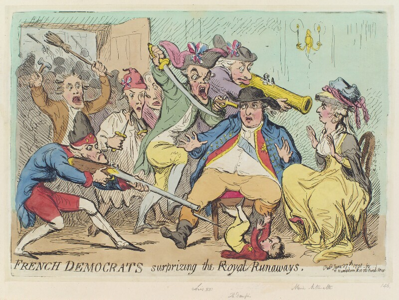 'French democrats surprising the royal runaways', by James Gillray, published by  Hannah Humphrey, published 27 June 1791 - NPG D12422 - © National Portrait Gallery, London