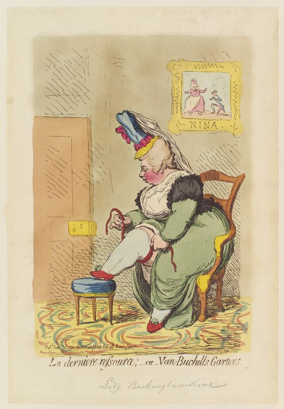 Albinia, Countess of Buckinghamshire ('La derniere ressource; - or - Van-Buchells garters'), by James Gillray, published by  Hannah Humphrey, published 3 October 1791 - NPG D12425 - © National Portrait Gallery, London