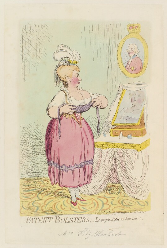 Maria Anne Fitzherbert (née Smythe) ('Patent-bolsters; - le moyèn d'etre en-bon-point'), by James Gillray, published by  Hannah Humphrey, published 13 October 1791 - NPG D12427 - © National Portrait Gallery, London
