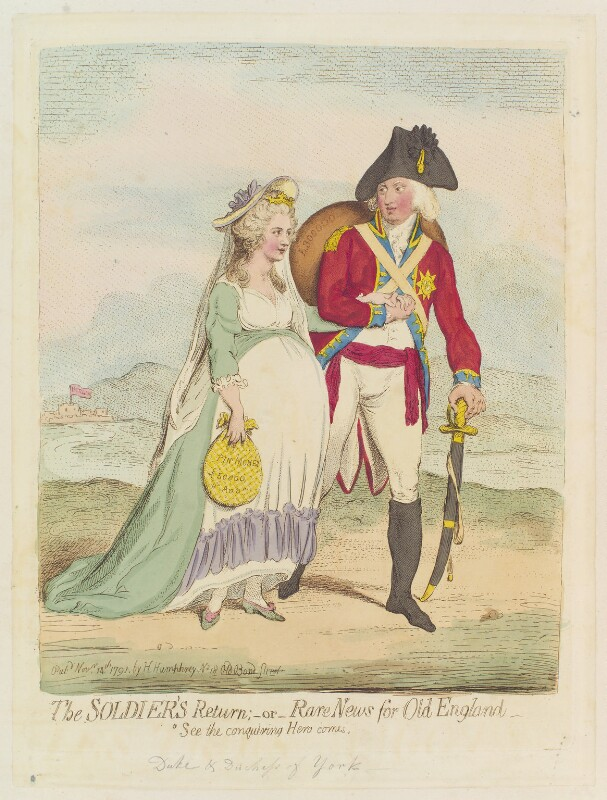 'The soldier's return; - or - rare news for old England', by James Gillray, published by  Hannah Humphrey, published 14 November 1791 - NPG D12430 - © National Portrait Gallery, London