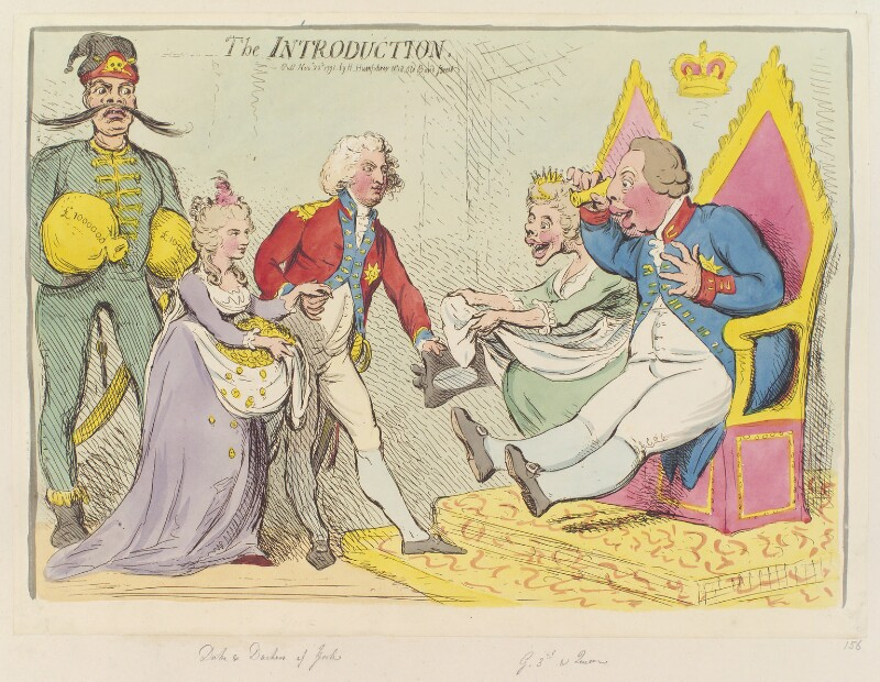 'The introduction', by James Gillray, published by  Hannah Humphrey, published 22 November 1791 - NPG D12432 - © National Portrait Gallery, London