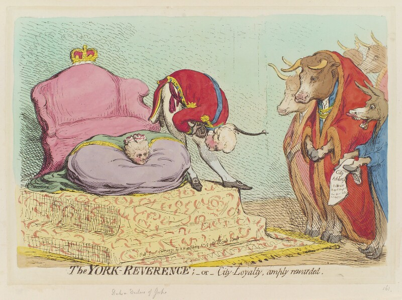 'The York-reverence; - or - city-loyalty, amply rewarded', by James Gillray, published by  Hannah Humphrey, published 27 December 1791 - NPG D12437 - © National Portrait Gallery, London
