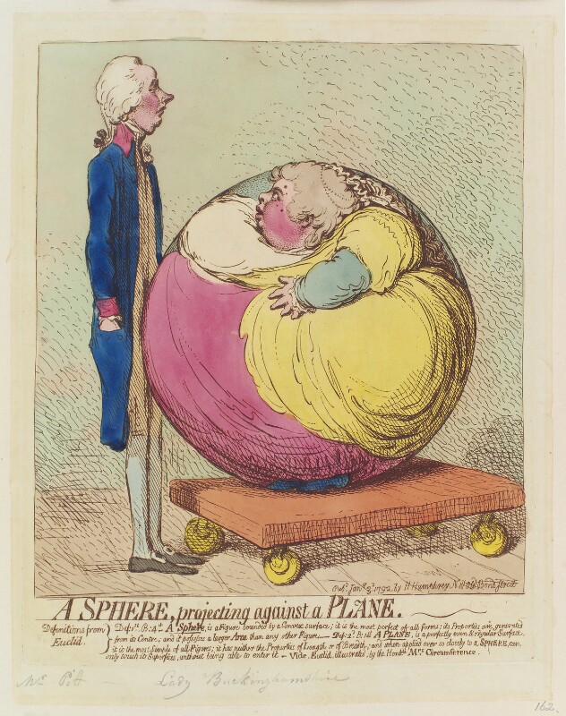 'A sphere, projecting against a plane' (William Pitt; Albinia, Countess of Buckinghamshire), by James Gillray, published by  Hannah Humphrey, published 3 January 1792 - NPG D12438 - © National Portrait Gallery, London