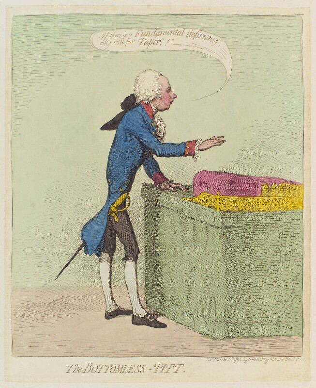 William Pitt ('The bottomless-Pitt'), by James Gillray, published by  Hannah Humphrey, published 16 March 1792 - NPG D12442 - © National Portrait Gallery, London