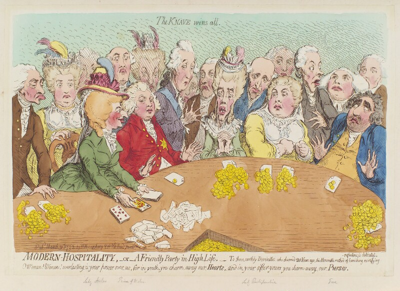 'Modern hospitality, - or - a friendly party in high life', by James Gillray, published by  Hannah Humphrey, published 31 March 1792 - NPG D12447 - © National Portrait Gallery, London