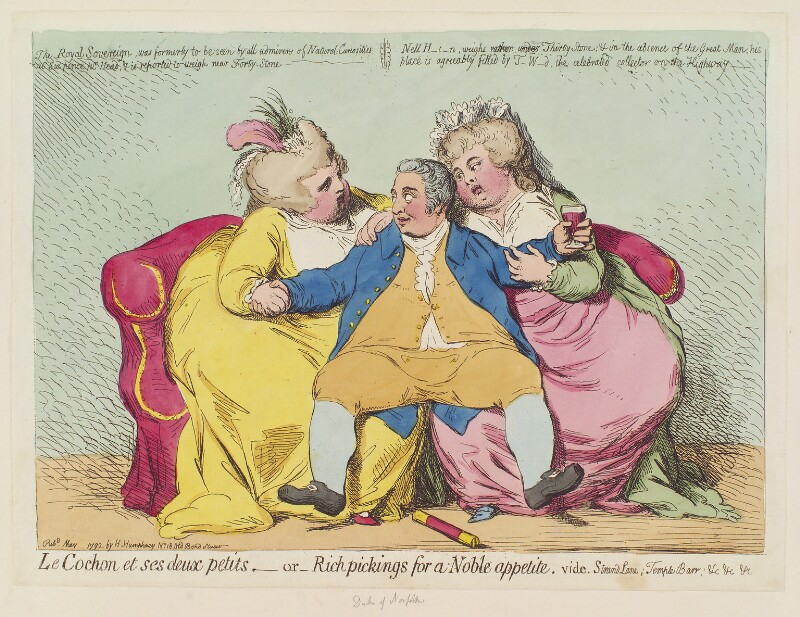 Charles Howard, 11th Duke of Norfolk ('Le cochon et ses deux petits, - or - rich pickings for a noble appetite'), by James Gillray, published by  Hannah Humphrey, published May 1792 - NPG D12450 - © National Portrait Gallery, London