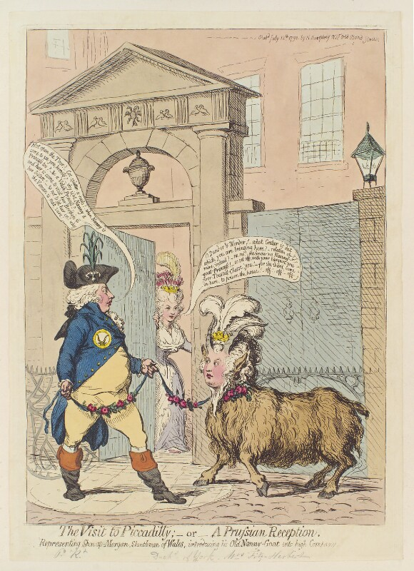 'The visit to Piccadilly; - or - a Prussian reception', by James Gillray, published by  Hannah Humphrey, published 12 July 1792 - NPG D12462 - © National Portrait Gallery, London