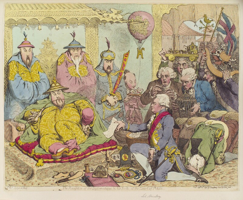 'The reception of the diplomatique and his suite, at the Court of Pekin', by James Gillray, published by  Hannah Humphrey, published 14 September 1792 - NPG D12463 - © National Portrait Gallery, London