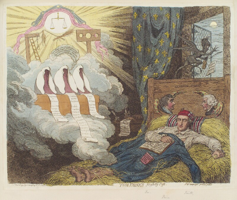'Tom Paine's nightly pest' (Charles James Fox; Thomas Paine; Joseph Priestley), by James Gillray, published by  Hannah Humphrey, published 10 December 1792 - NPG D12464 - © National Portrait Gallery, London