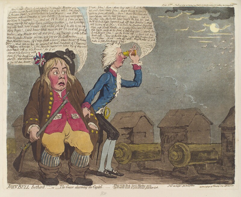 William Pitt ('John Bull bother'd; - or - the geese alarming the capitol'), by James Gillray, published by  Hannah Humphrey, published 19 December 1792 - NPG D12465 - © National Portrait Gallery, London