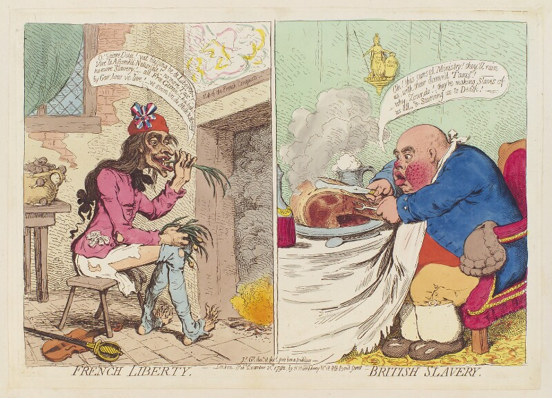 'French liberty British slavery', by James Gillray, published by  Hannah Humphrey, published 21 December 1792 - NPG D12466 - © National Portrait Gallery, London